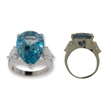 Pear shaped CZ Ring Blue Topaz