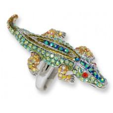 Olivine AB, Peridot AB, and Jonquil AB Crystals alligator ring