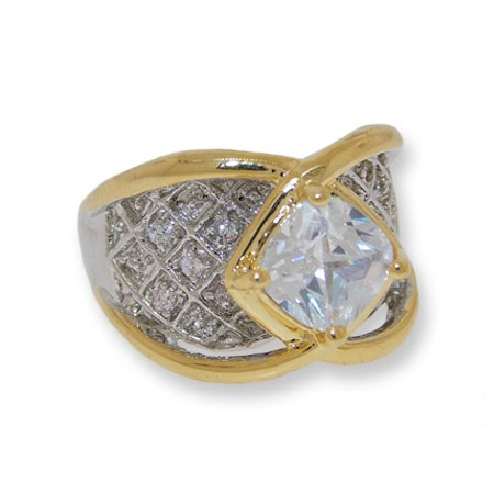 Bachelorette Bling Ring Two toned silver and gold clear white CZ ring