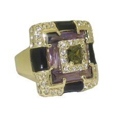 Enamel Ring with Cubic Zirconia's Yellow Gold