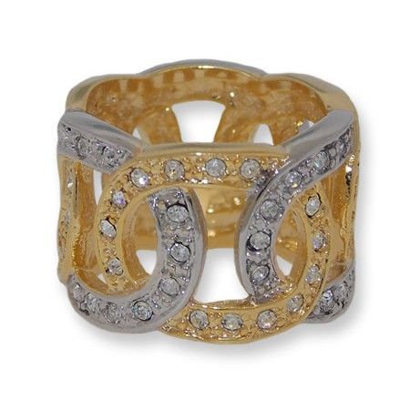 Two toned gold And silver white crystals ring