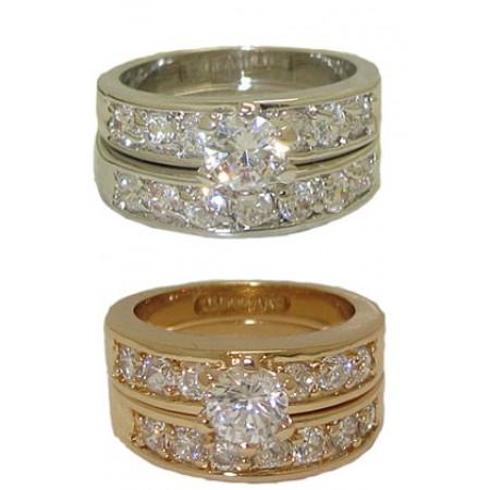 CZ Wedding Set engagement ring white gold Size 4