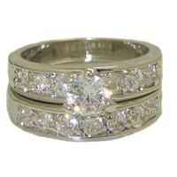 CZ Wedding Set engagement ring White Gold