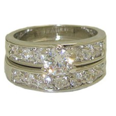 CZ Wedding Set engagement ring White Gold