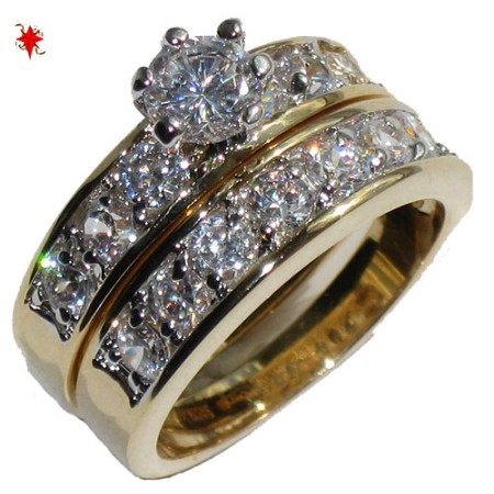 CZ Wedding Set engagement ring Yellow Gold