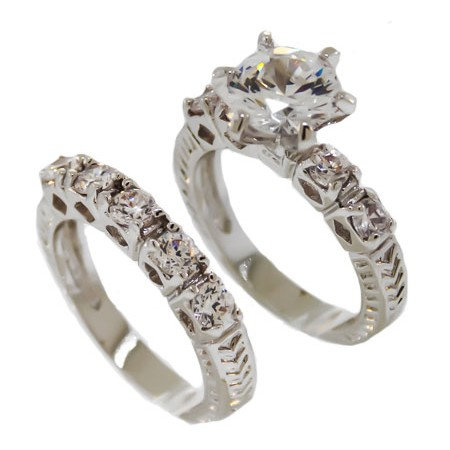 Clear White CZ double band wholesale ring