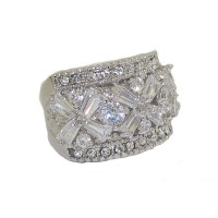 White Center Cubic Zironia And white wholesale crystal ring