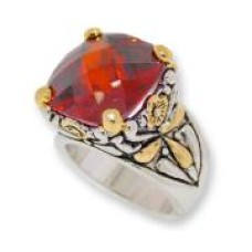 Designer Cable Jewelry Ring Garnet