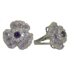 Flower Ring Lavender Austrian Crystal