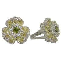 Peridot Austrian Crystal Stone Flower Ring