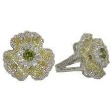 Peridot Austrian Crystal Stones Flower Ring