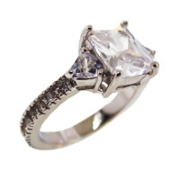 White Center CZ with White Crystal Ring