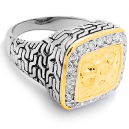 Two Tone wholesale CZ Designer Ring