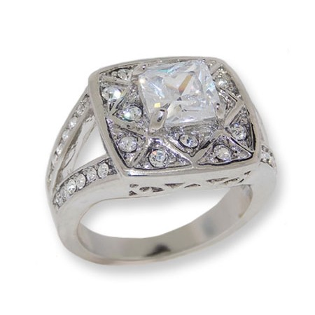 Silver Tone White Cubic Zirconia And Crystal Wholesale Ring