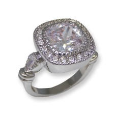 White CZ classic ring accented w white crystals