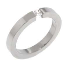 Stainless Steel.White CZ Ring
