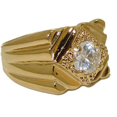 Men's Ring 14kt Gold Electro Men's Hig Quality Cubic Zirconia Rings