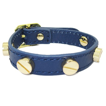 Leather Screw Bracelet accented in Gold