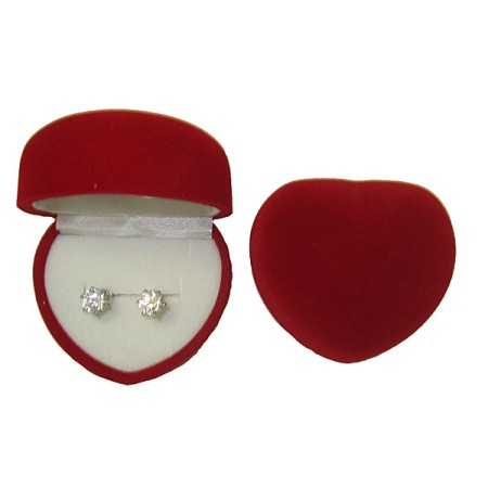 SIMULATED DIAMOND WHITE EARRINGS in DOMED HEART BOX
