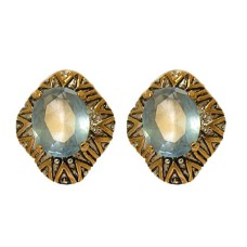 Designer Earring Accented 18 KT Gold CZ Stone