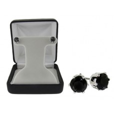 2 Carat CTW Black Cubic Zirconia stud earrings Gift Boxed