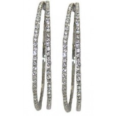 WHITE Double Hoop white crystal Earring 30 mm
