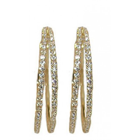 YELLOW Double Hoop white crystal earring 40 mm