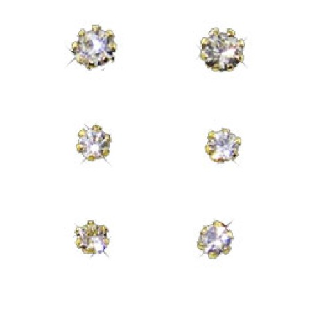 3 CZ Studs in pouch yellow gold wholesale earrings