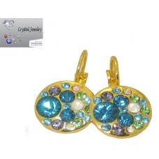 Light and Dark Sapphire Crystal stones kaleidoscope earrings