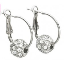 Hoop earrings with crystal pave ball in sterling silver overlay.