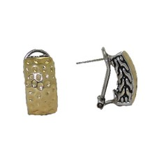 Hammered Two Tone Wholesale Earring