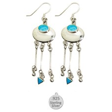 Sterling Silver And Genuine Turquoise Stone Earrings