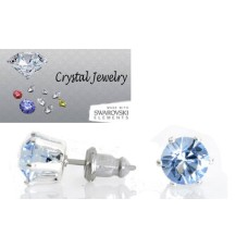 Aquamarine 2 Carat Swarovski Stone Stud Earrings White Gold