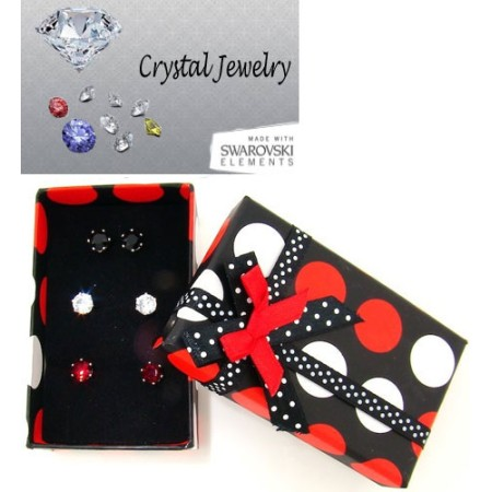 3 Pairs of Earrings in Gift Box White Gold