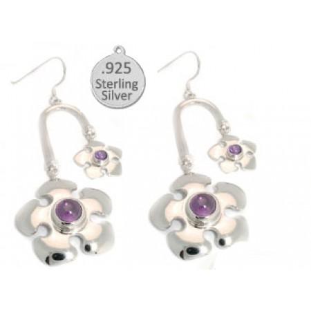 Amethyst Crystal Earrings in Silver