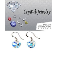 Swarovski Austrian crystal Aurora Borealis earrings pouched White