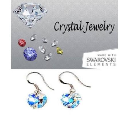 Swarovski Austrian crystal Aurora Borealis earrings pouched Yellow
