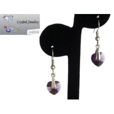 Swarovski Austrian crystal Amethyst Crystal earrings with pouch White