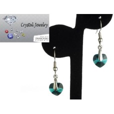 Swarovski Austrian crystal Emerald Green Crystal earrings with pouch White