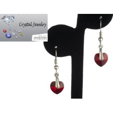 Swarovski Austrian crystal Ruby Red Crystal earrings with pouch White