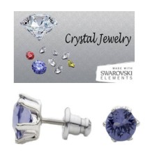 Tanzanite 2 Carat Swarovski Stone Stud Earrings White gold