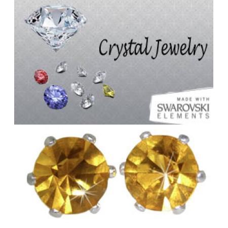 Jonquil 2 Carat Swarovski Stone Yellow Stud Earrings yellow gold