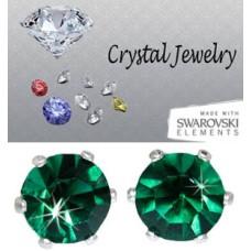 Emerald 2 Carat Swarovski Stone Stud Earrings white gold