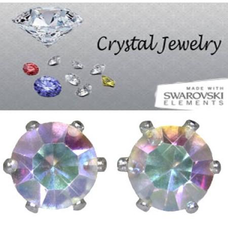 Crystal AB 2 Carat Swarovski Stone Crystal Stud Earrings yellow gold