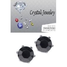 Jet metallic silver crystal 2 Carat Swarovski Stone Black white gold