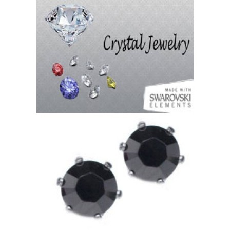 Jet metallic silver crystal 2 Carat Swarovski Stone Black yellow gold