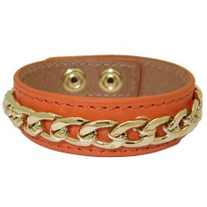 Leather Bracelet with Chain accent