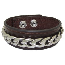 Leather Bracelet with Chain accent Brown