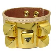 Leather Bracelet gold accents Beige