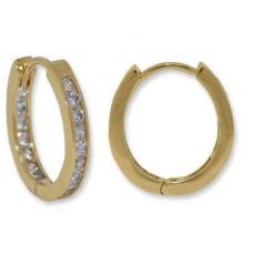 Small Oval Hoop Yellow Gold Earrings